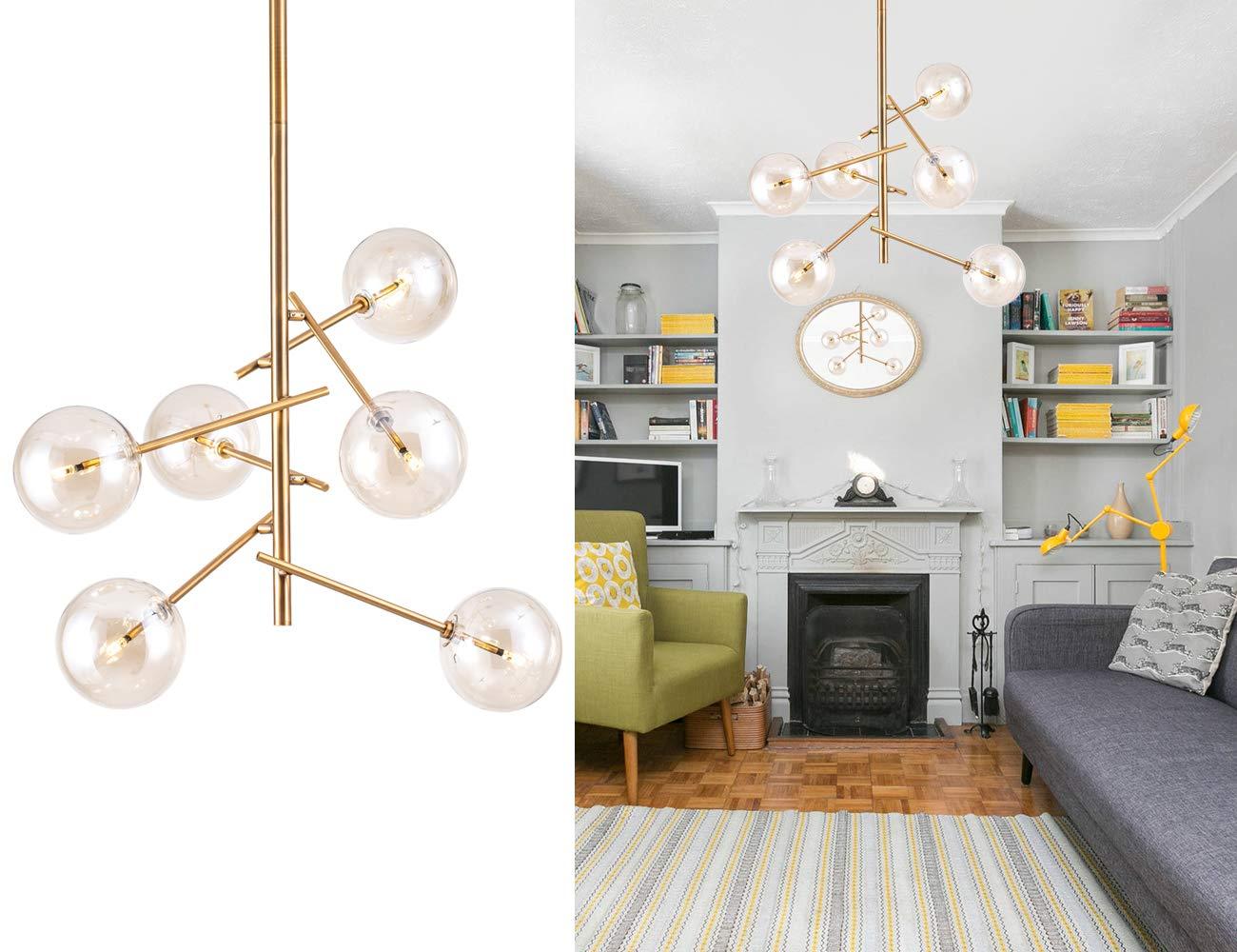 Modern Sputnik Chandelier 6 Lights Mid Century Brass Vintage Pendant Lighting Fixture for Foyer Dining Living Room Bedroom by Bewamf