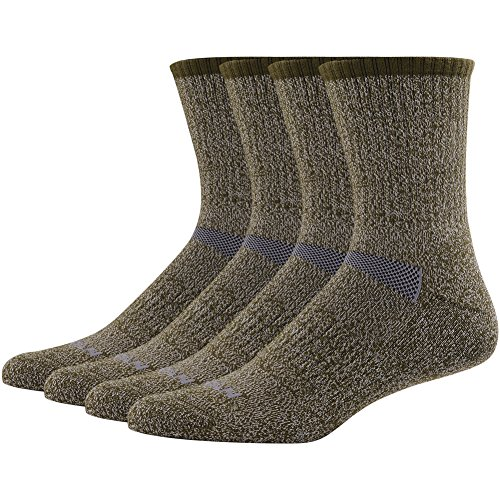 Merino Wool Hiking Socks, MK MEIKAN Crew Wicking Antimicrobial Outdoor Performance Cushion Socks for St. Patrick's Day Mens Gifts Outdoors 4 Pairs, Army Green
