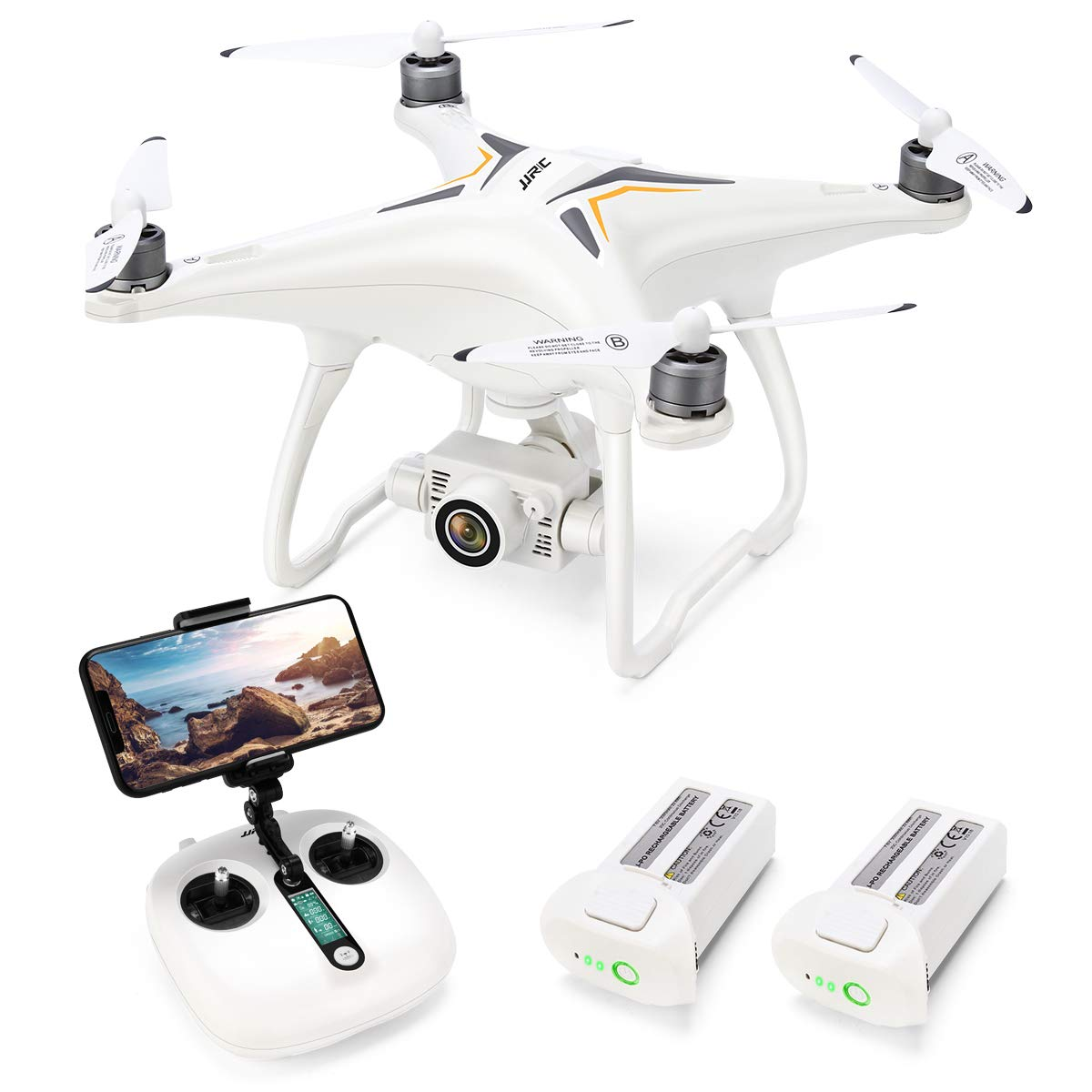 Drone with 1080P Camera with 2-Axis Self-stabilizing Gimbal 5G FPV Live Video and GPS Return Home, JJRC JJPRO X6 RC Quadcopter for Adults with Brushless Motor in 23+23 Mins Flight Time, Follow me