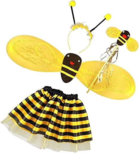 Biene Hummel Set Mädchen Kostüm Accessoire Tutu Haarreif Flügel Karneval