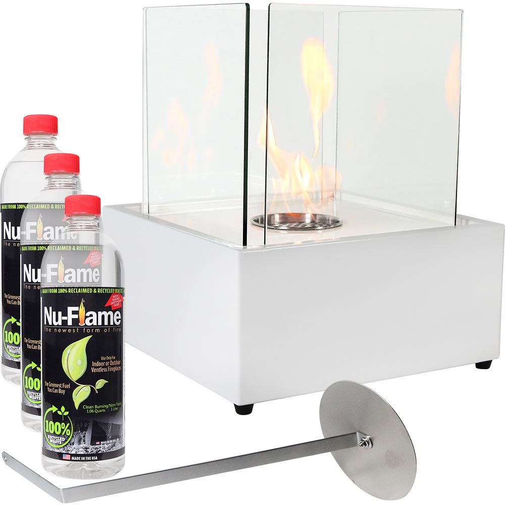 Sunnydaze White Large Cubic Ventless Tabletop Bio Ethanol Fireplace with Fuel