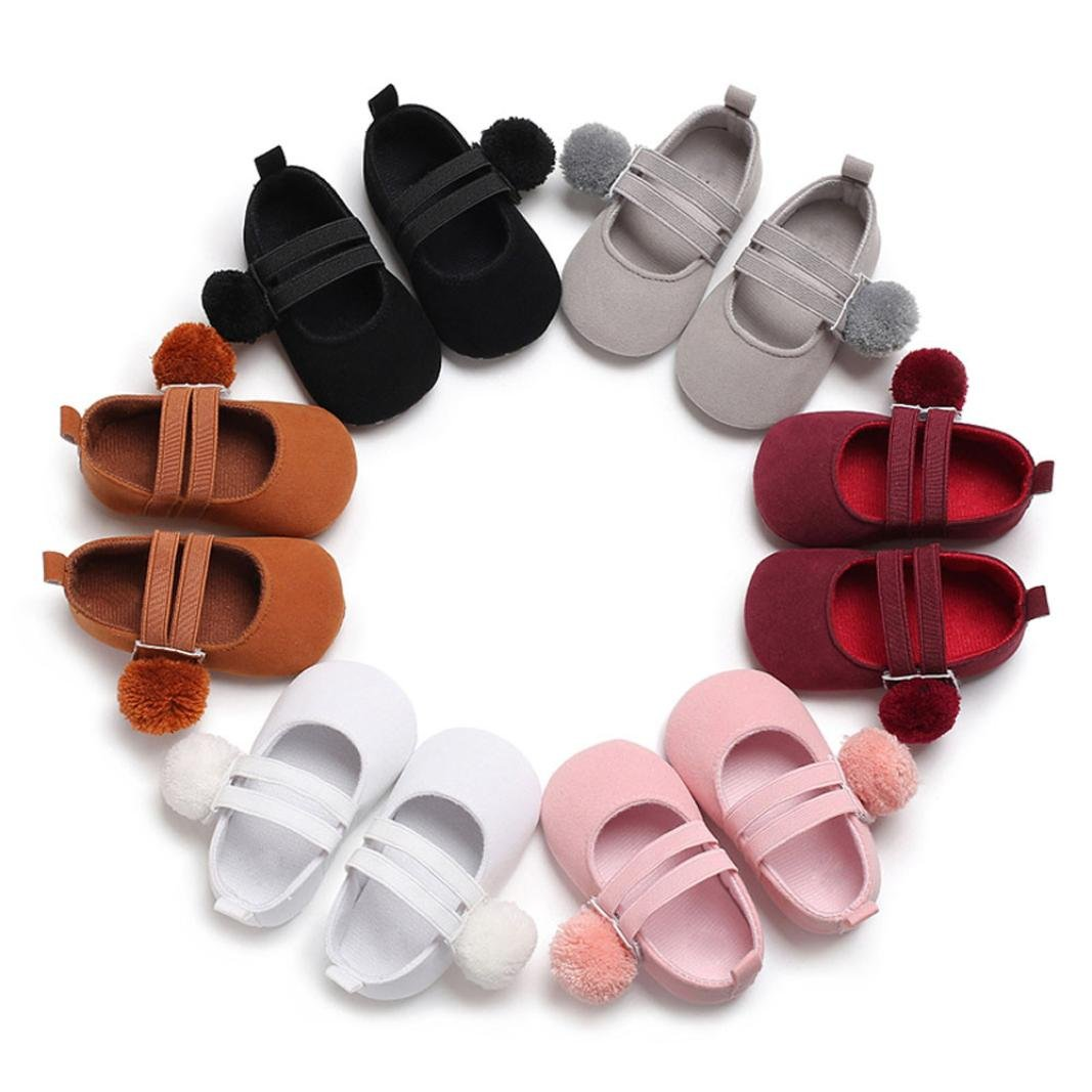 Voberry@ Baby Girls Double Straps Ball Flock Cloth Mary Jane Soft Sole Princess Dress Shoes