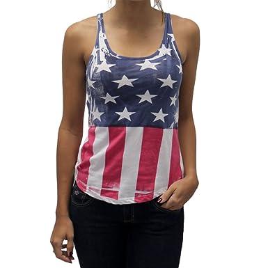 0ce6c8a1ef56b Ladies Criss Cross American Flag Tank at Amazon Women s Clothing store