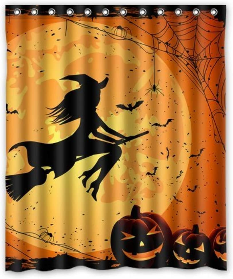 EVINIS Halloween Shower Curtain - Witch Pumpkin Bathroom Shower Curtains with Hooks for Halloween Decoration, 65x72 Inches (Moon Pumkin Witch)
