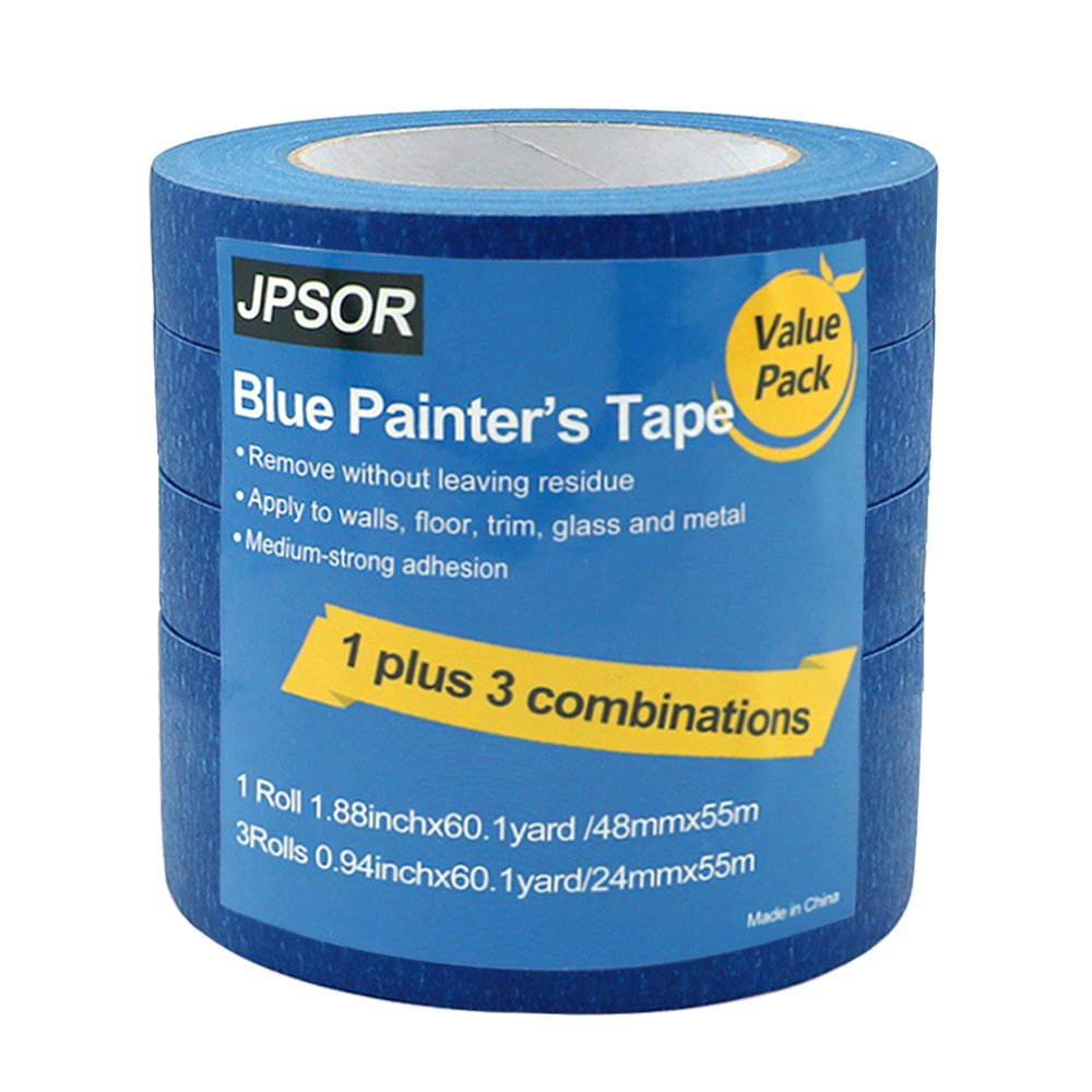 Blue Painters Tape, Multi-Use Masking Tape, 1 Plus 3 Super-Value Pack by JPSOR