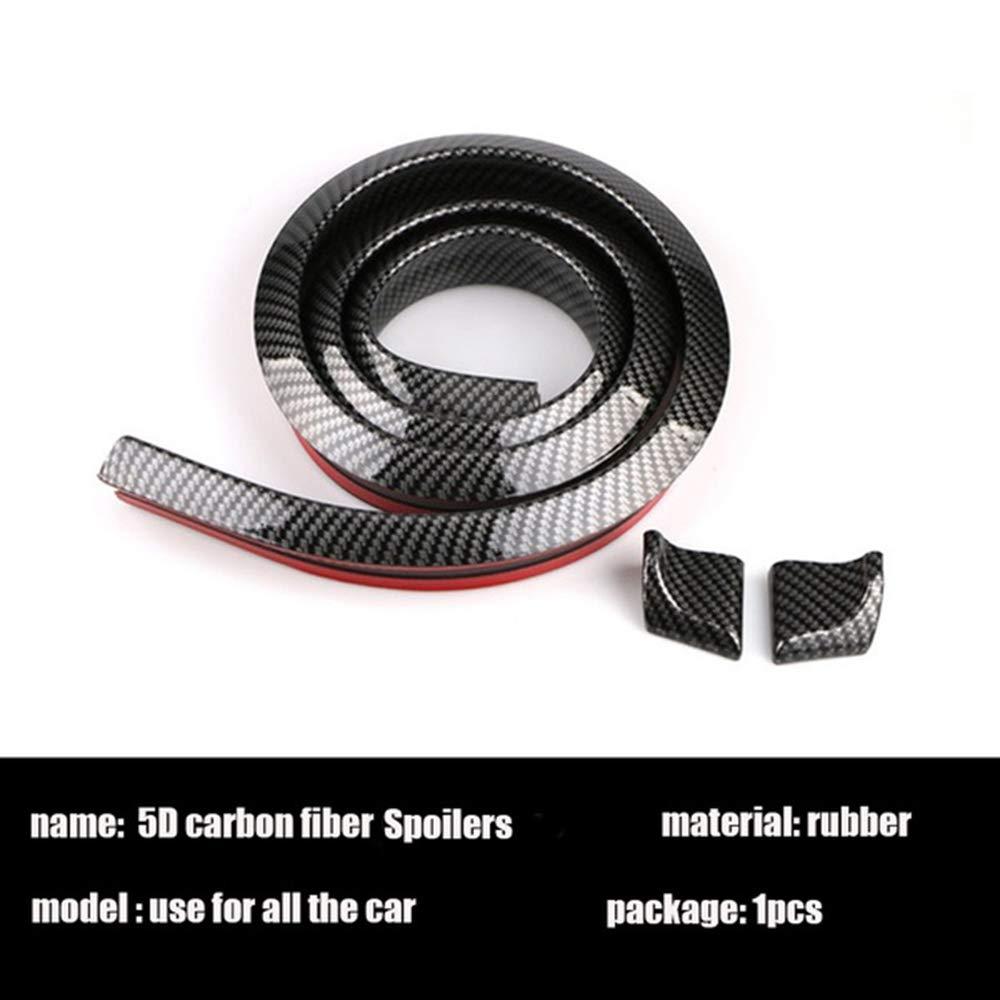 Stile Universale per Auto paraurti Posteriore Tronco Orlo Spoiler Styling Fai da Te refit Spoiler Gomma 3D in Fibra di Carbonio da 1,5 m