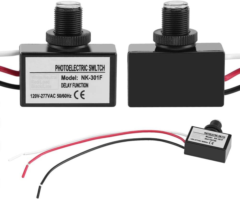 Interruptor fotoel/éctrico 120V-277VAC Control del sensor de luz Interruptor fotoel/éctrico de encendido//apagado autom/ático para accesorios de iluminaci/ón