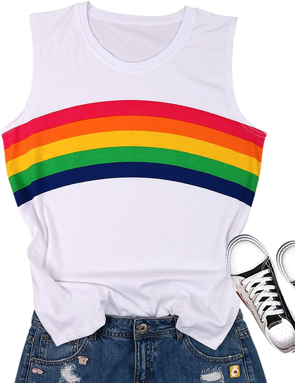 Gay Pride Tank Top Women Rainbow Graphic Print Casual Sleeveless Cute White LGBT Tank Tops