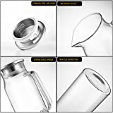 HOLD U FUN 1.7L Glass Water Carafe Pitcher with