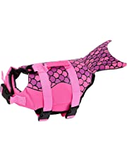Lifejackets for Dog, Pet Life Jackets Fish Style Floatation Vest Saver Safety Swimsuit Preserver with Reflective Stripes/Adjustable Belt for Small Medium Large Dogs (S, Pink)