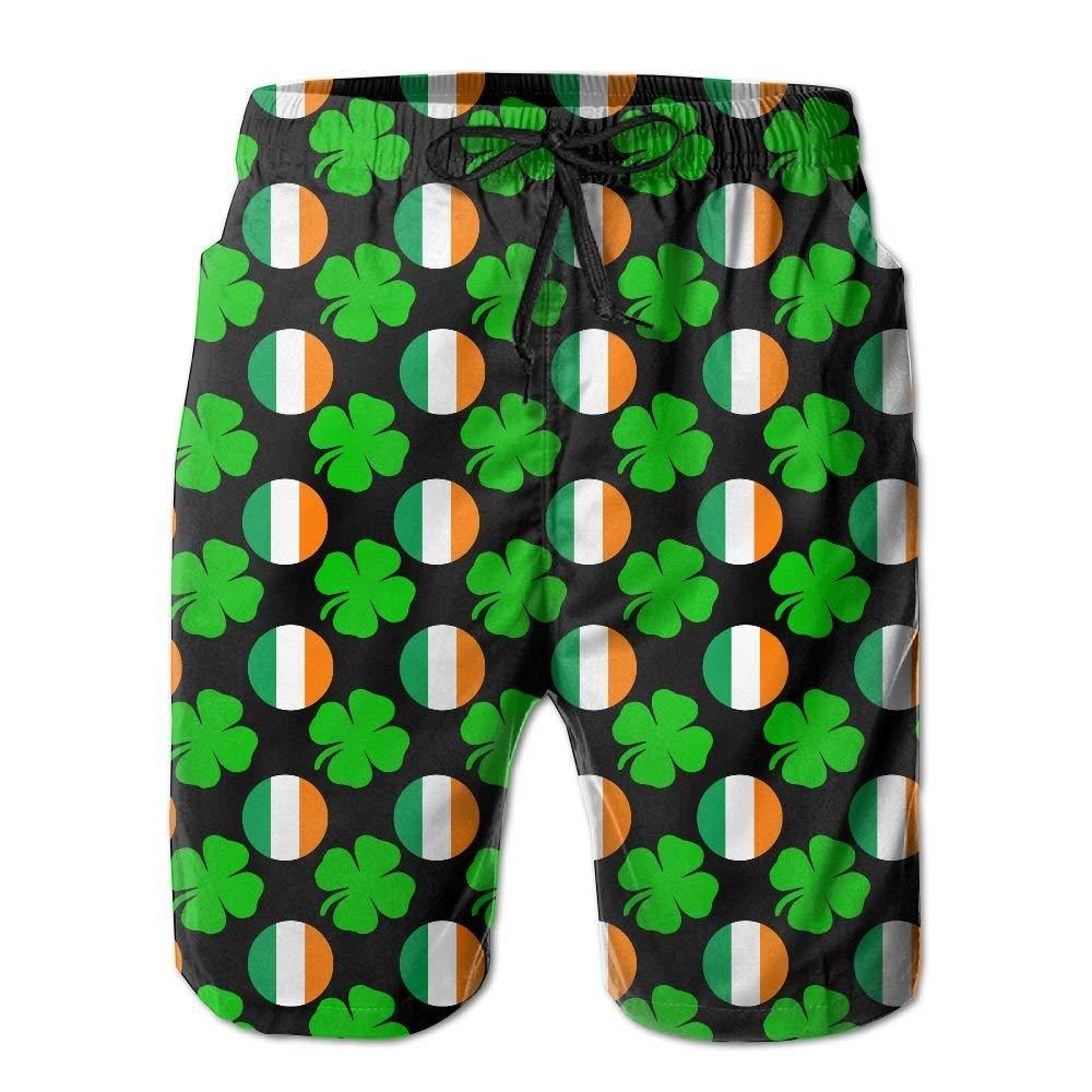 Mens Ireland Lucky Shamrock Summer Holiday Swim Trunks Beach Shorts Board Shorts