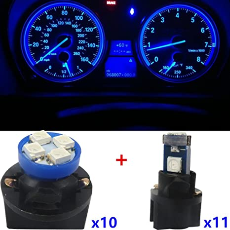 WLJH 21pcs T5 T10 LED Instrument Light 2721 912 168 W5W LED Gauge Cluster Speedometer Dash