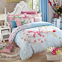 LOVE(TM)200TC Duvet Cover Set Ultra-Soft 100% Brushed Cotton Pink Bow Flower With Blue and White Pattern Bedding sets for Girls (1 Duvet Cover+2 Pillow cases+1 Flat Bed Sheet)
