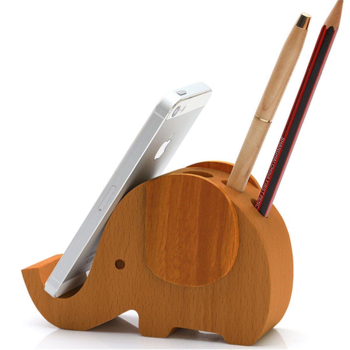 APSOONSELL Wood Elephant Phone Holder & Cute Desktop Card, Note Pad, Pencil Organizer
