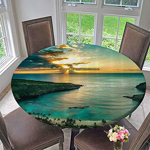 Mikihome Picnic Circle Table Cloths Sunrise Over Hanauma Bay Oahu Hawaii Sunams Through Dark Clouds Shore 47.5