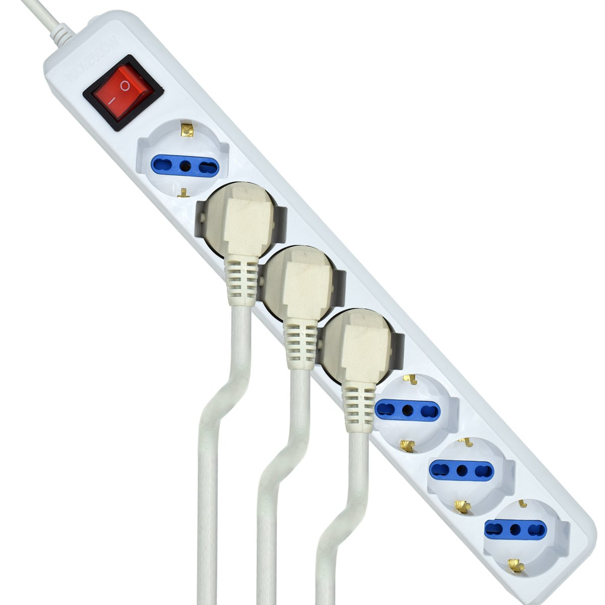 Ewent EW3927 Multipresa Ciabatta Elettrica con 7 Prese Universali ITA 10//16A e Schuko bipasso Bianco Cavo 1,5 m con Spina Italiana 16A Interruttore Luminoso
