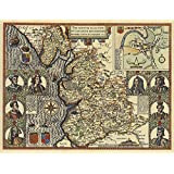 Lancashire Hundreds 1610 John Speeds Map - 45 x 60 cm by Tiger Moon