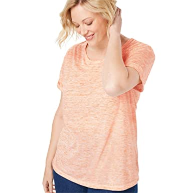 545f38ff02b Woman Within Plus Size Marled Knit Tee at Amazon Women s Clothing store