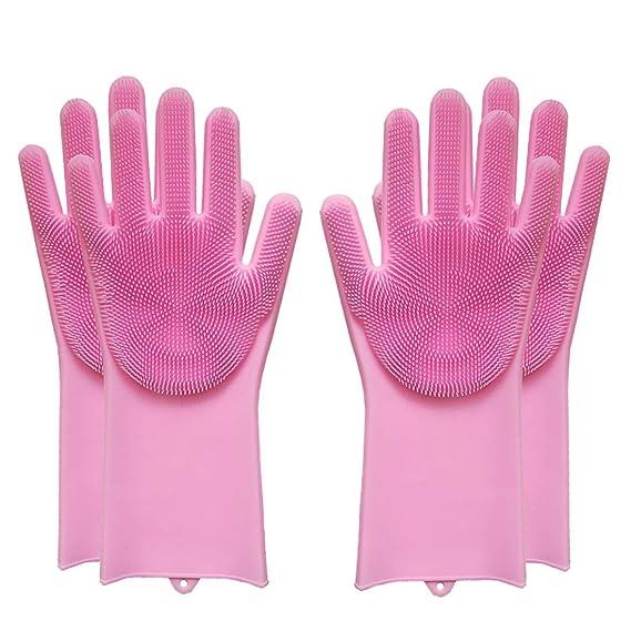 SOOJET 2 Paar Wiederverwendbare Silikon-Handschuhe, Geschirrspülen Reinigungsbürste, Hitzebeständige Umweltfreundliche Mehrzw