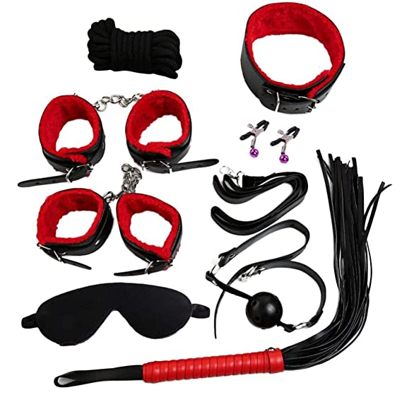 ... Set Kit Collar Whip Bola mordaza puños Cuerda de sujeción de Juguetes para Adultos del Traje erótico de Ocho Piezas (Rojo): Amazon.es: Ropa y accesorios