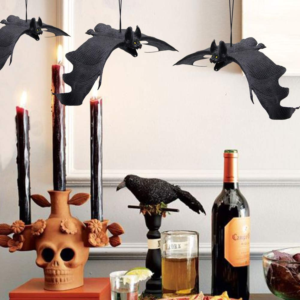 6 Pack Realistic Looking Spooky Bats ATDAWN Halloween Hanging Bats Flying Bats Halloween Decoration Rubber Bats