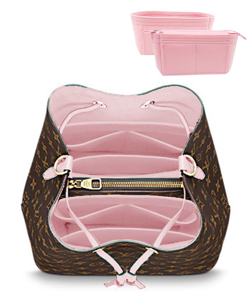 LEXSION 2-Pack Felt Handbag Organizer ,Insert purse organizer Fits LV Neonoe Perfectly Pink M