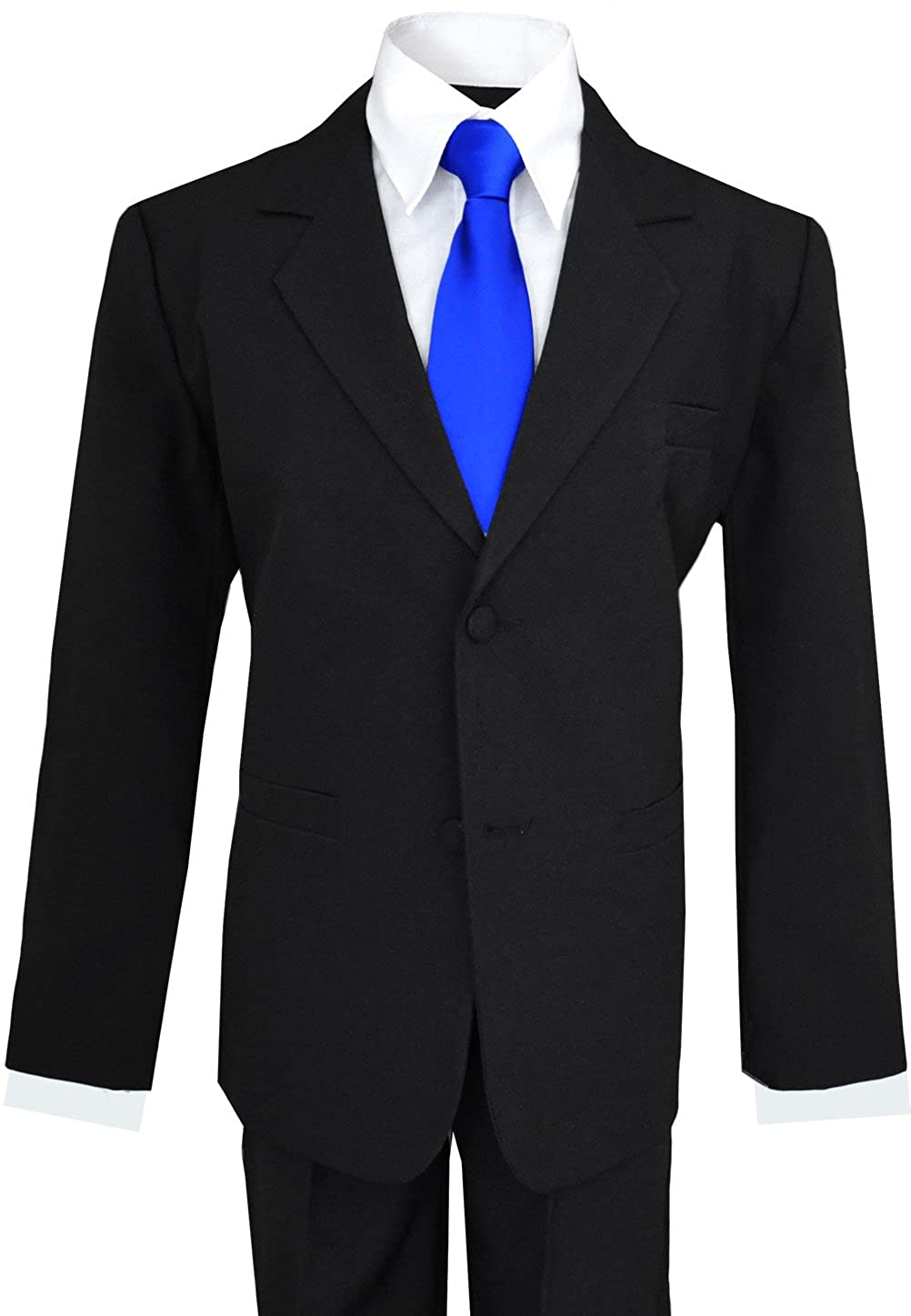 Big Boys Suits in Black with Royal Blue Neck Tie
