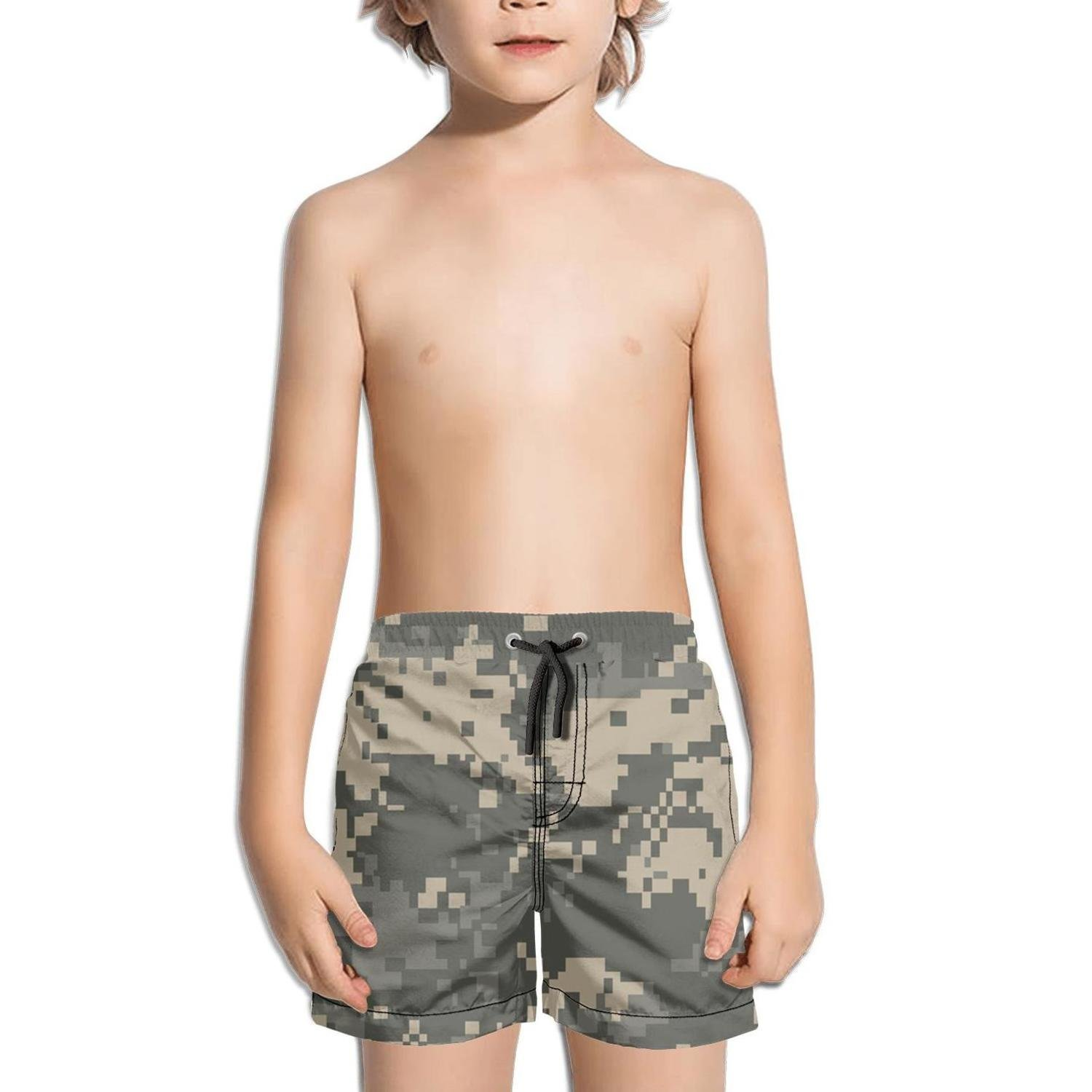 Lenard Hughes Boys Quick Dry Beach Shorts with Pockets Universal Camouflage Swim Trunks for Summer