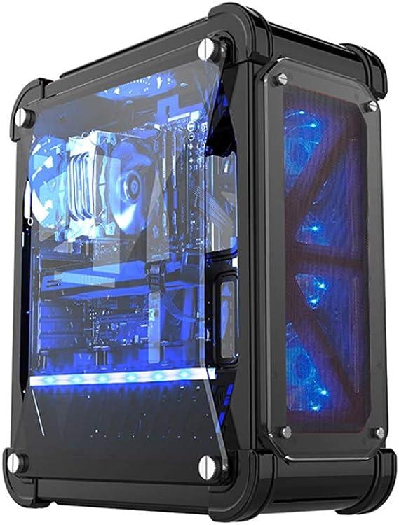 RISHENG Caja de la computadora, Panel acrílico, Soporte ATX/ITX/M-ATX, Tira de Color LED, Cuatro Ventiladores, Soporte de enfriamiento por Agua, Fuente de alimentación Independiente,Black: Amazon.es: Deportes y aire libre