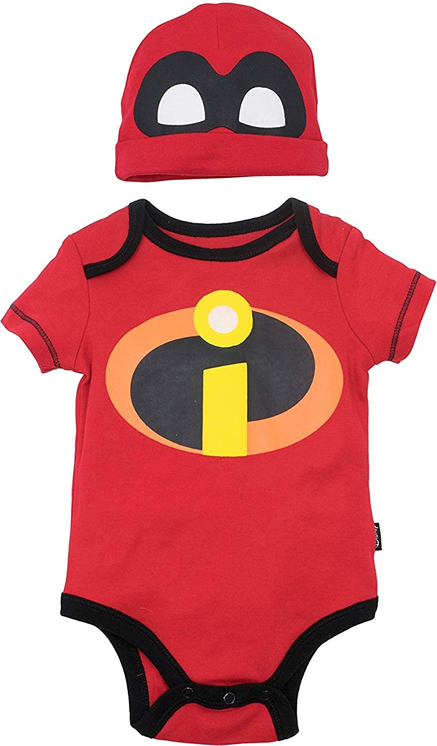 Disney Pixar The Incredibles Baby Boys' Costume Bodysuit and Hat Red