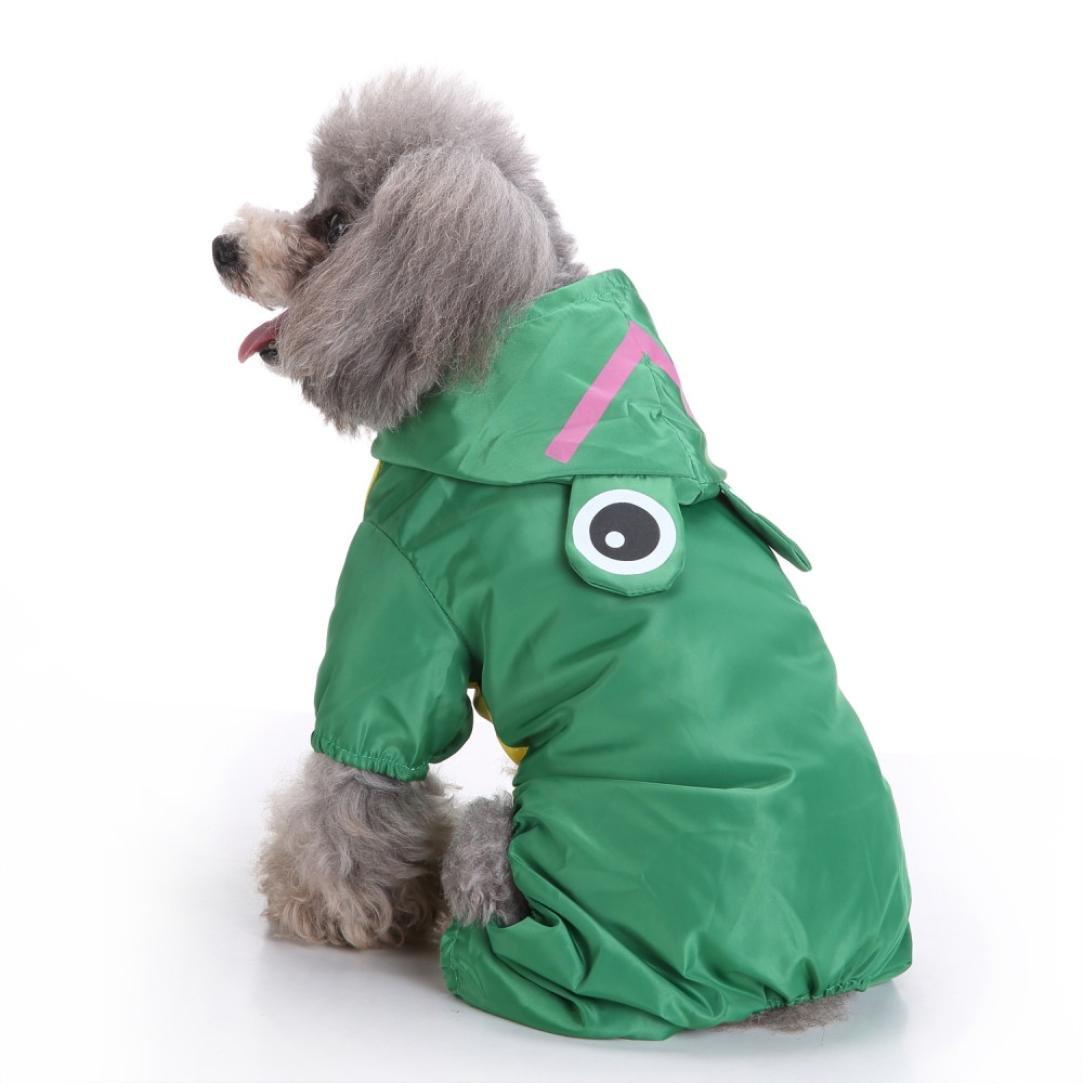 Pet Dog Raincoat,JOYFEEL Hooded Pet Waterproof Clothes Outdoor Coat Puppy Dog T-shirt Jacket (XL, Green)