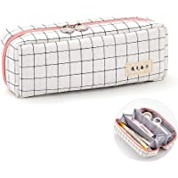 iSuperb Pencil Case Large Capacity 3 Compartment Pen Bag Square Grid Pencil Holder Canvas Stationery Pouch Cosmetic Bags