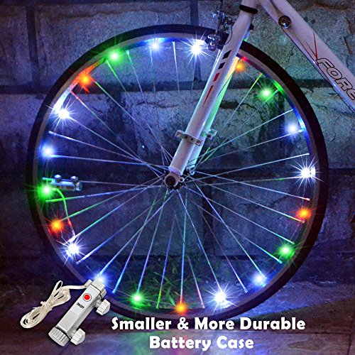 Kids Happy Bike - WAYNEWON LED Wheel Lights, Waterproof Bicycle Lights with Smaller Battery Case and BATTERY INCLUDED - Super Cool Birthday Gifts for Kids and Adults [1 Pack for 1 Tire]