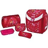 herlitz 50007646 Schulranzen Flexi Plus, Magnetschloss Smart Lock, Brustgurt, 17-teiliges Schüleretui, Sporttasche, Faulenzer dreikant, Brotdose pink, Motiv: Butterfly, 1 Stück
