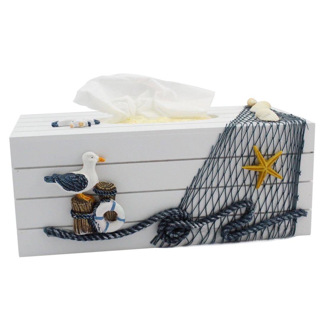 Landove Mediterraneo Scatola Porta Fazzoletti di Carta in Legno Blanco Vintage Shabby Chic Tissue Box Organizer per Casa / Ristorante / Auto / Hotel