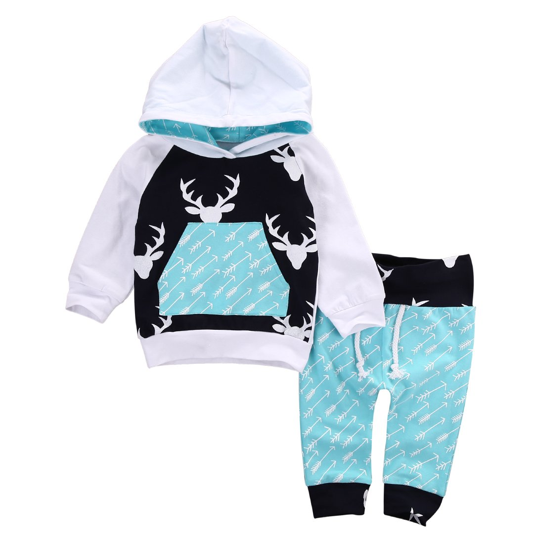 Toddler Infant Baby Boys Deer Long Sleeve Hoodie Tops Sweatsuit Pants Outfit Set (0-6Months, Sky Blue)