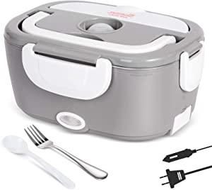 Andvon Electric Lunch Box 3 in 1 Portable Food Heater for Car,Truck,Home and Work Portable Microwave 12V&24V&110V 40W Food Warmer Removable Stainless Steel Food Warming Container