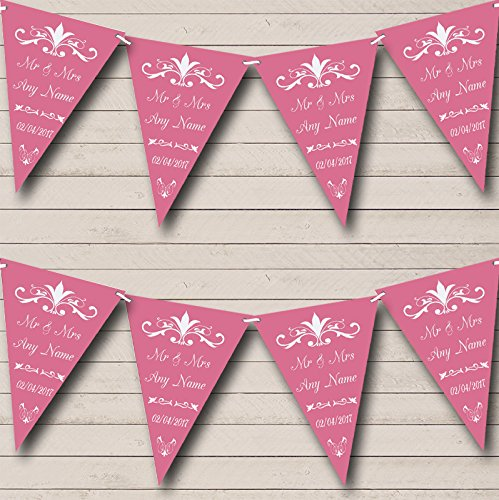 [Regal Or Dusky Rose Personalized Wedding Anniversary Party Bunting Banner] (Regal Rose Print)