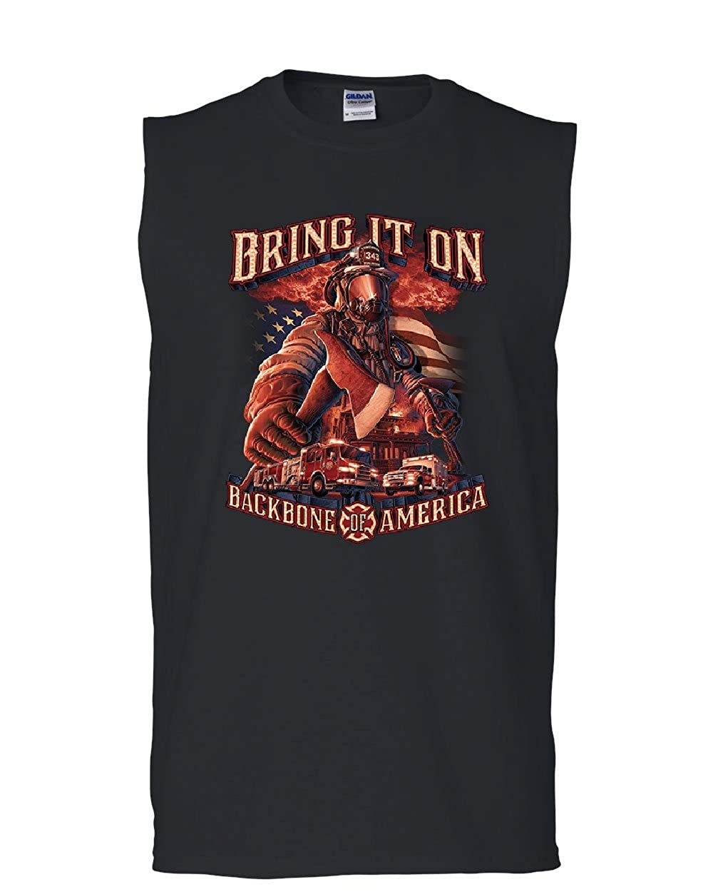 Tee Hunt Firefighter Backbone of America Muscle Shirt FD Fire and Rescue Hero Sleeveless