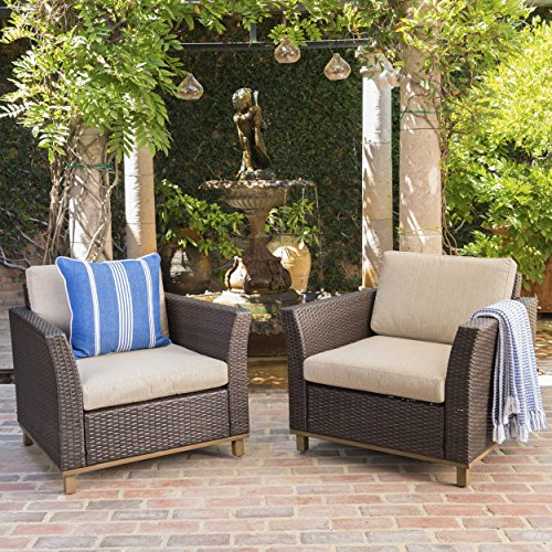Grady Outdoor Aluminum Framed Mix Brown Wicker Club Chairs with Mixed Beige Water Resistant Cushions (Set of 2)
