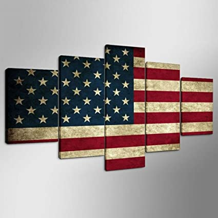 Rustic American Flag 5 Panels Canvas Prints Canvas Painting Poster Ready to Hang for Wall Decor
