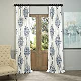 Cheap HPD HALF PRICE DRAPES Half Price Drapes PRTW-D41-84 Kerala Printed Cotton Twill Curtain, 50 x 84, Blue