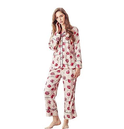 Elegante hembra de punto de algodón pijamas de otoño e invierno romántico patrón de color rosa