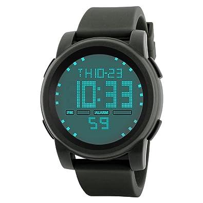VanpowerElectronic - Reloj de pulsera deportivo digital LED para hombre, color verde militar: Amazon.es: Joyería