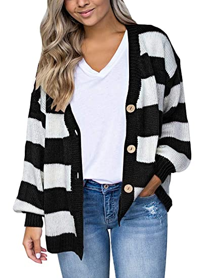 15a44cfbf Image Unavailable. Image not available for. Color  Imily Bela Womens Striped  Cardigans Oversized Button up Cable Knit Drape Sweaters