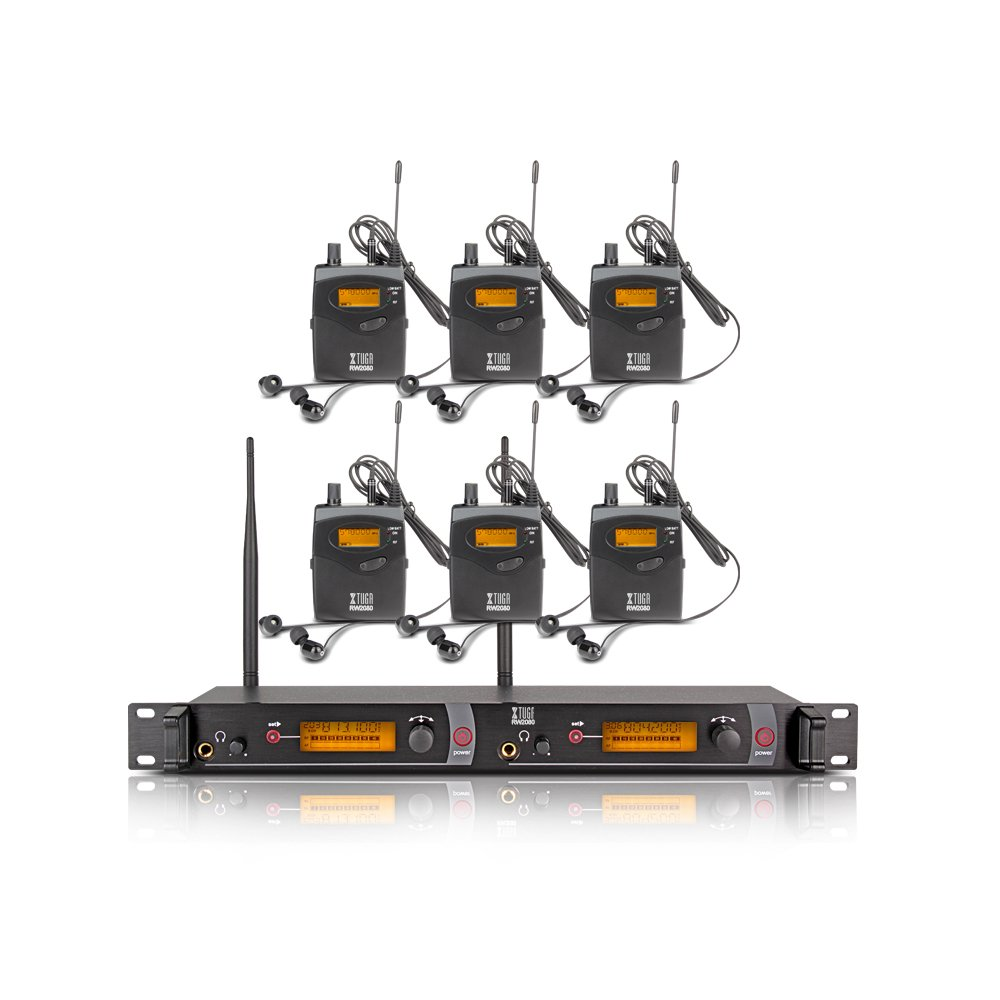 Top Quality!! Xtuga RW2080 In Ear Monitor System 2 Channel 2/4/6/8/10 Bodypack Monitoring with in earphone wireless SR2050 Type! (6 bodypack with transmitter) by Xtuga (Image #1)