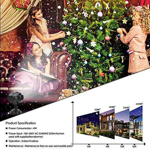 Snowfall LED Light Projector,Sanwsmo Christmas Snow Light,Snow Falling Projector Lamp Dynamic Snow Effect Spotlight for Garden Ballroom, Party,Halloween,Holiday Landscape Decorative(Waterproof Remote)