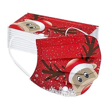 Blingko 50 Stück Mundschutz Weihnachten Erwachsene Mit Motiv Einweg Bunt Mns Mund Nasenschutz Cartoon Druck Atmungsaktiv Multifunktionstuch Mundbedeckung Bandana Halstuch Schals Beauty