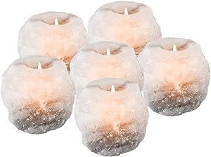mockins 2.5 lbs 6 Pack Natural White Himalayan Salt Tea Light Candles Holder | Great Room Decor