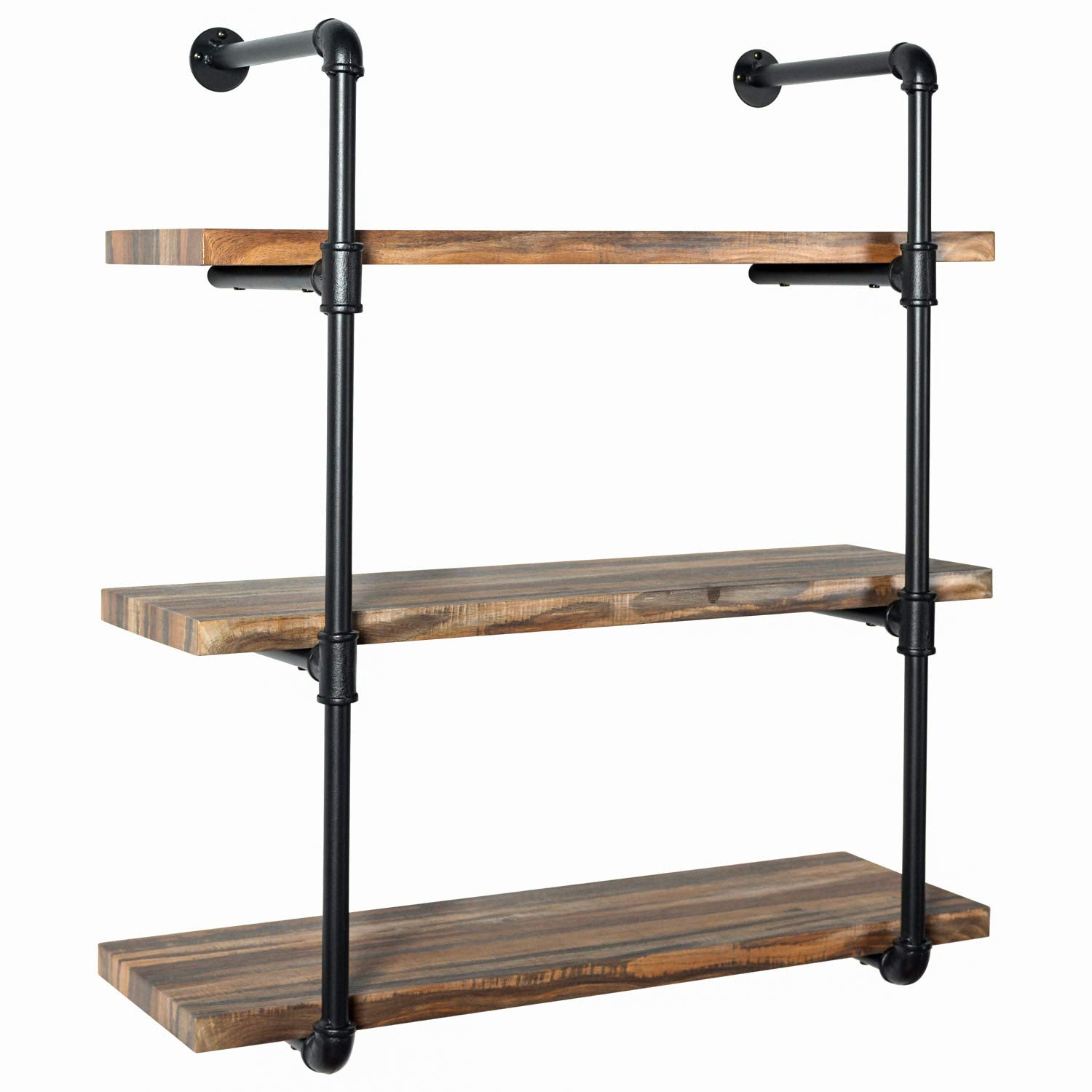 IRONCK Industrial Shelving Pipe Shelf 3-Tier, Wood and Metal Frame, Rustic Home Decor Wall Decor, Wall Shelves for Bedroom, Bathroom, Kitchen